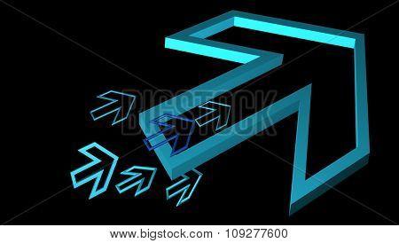 Abstract progress concept arrows. 3D background design template