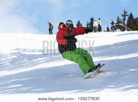 Snowboarder on snow ski slope. Winter sport lifestyle concept
