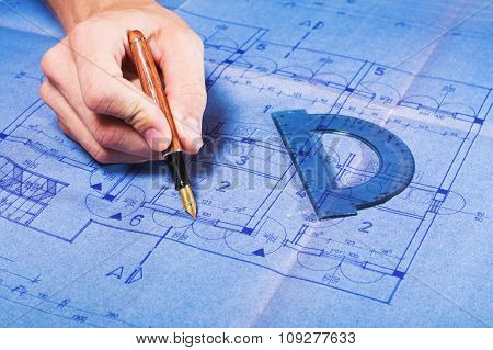 Architecture blueprint document draw. Engineering concept