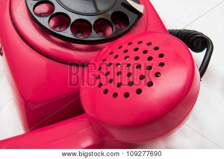 old retro red phone. Retro industrial design
