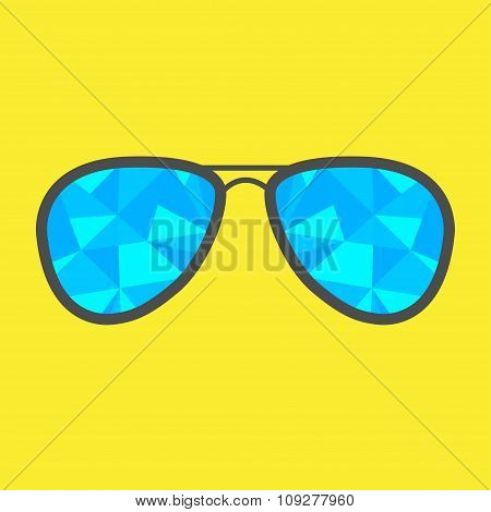 Glasses With Blue Abstract Triangles. Polygonal Effect.
