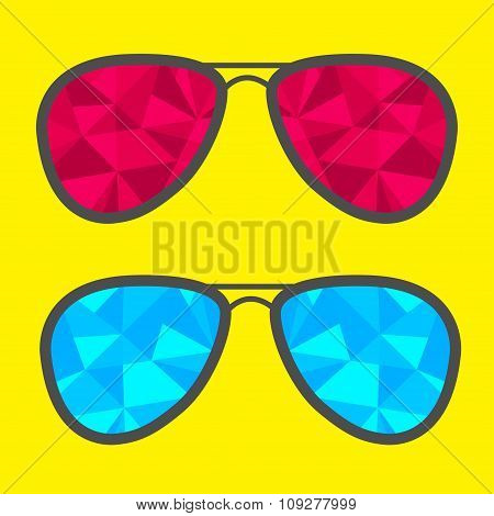 Set Of Glasses With Blue And Red Abstract Triangles. Polygonal E
