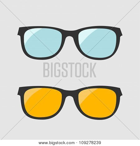 Glasses Set. Blue And Yellow Lenses. Isolated Icons.