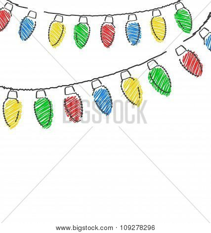 hand drawn Christmas lights isolated on white