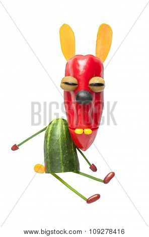 Funny Vegetable Rabbit On Isolated Background