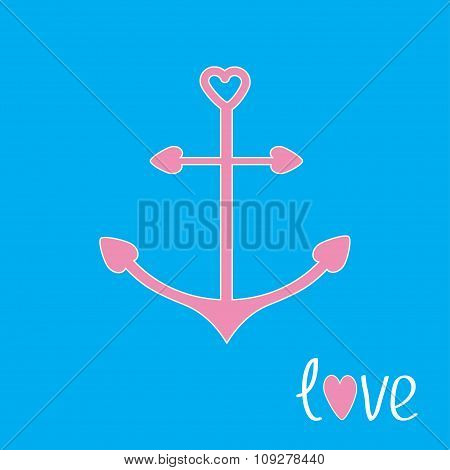Pink Anchor With Shapes Of Heart. Love Card.