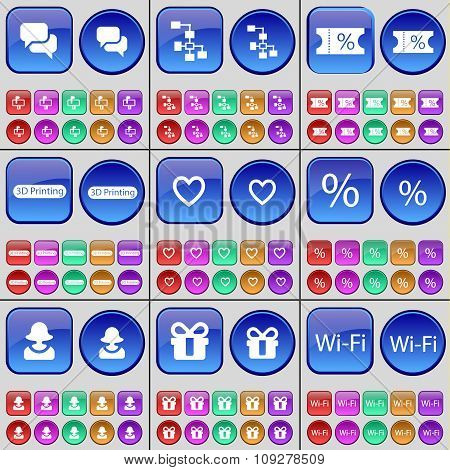 Chat, Network, Ticket, 3D Printing, Heart, Percent, Avatar, Gift, Wi-fi. A Large Set Of Multi-