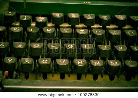 Isolated old dusty typewriter keyboard