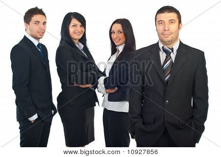 Smiling Business Man And His Team