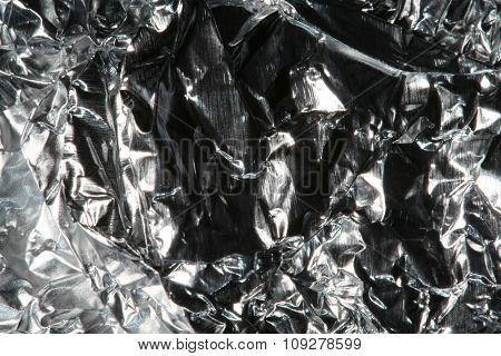 Crinkled aluminium foil background