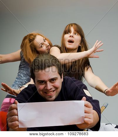 Two women and Man carry blank card - easy to write your text