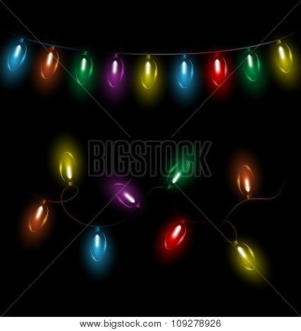 led Christmas lights on black