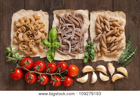 Whole Wheat  Pasta, Vegetables,  Herbs And Olive Oil
