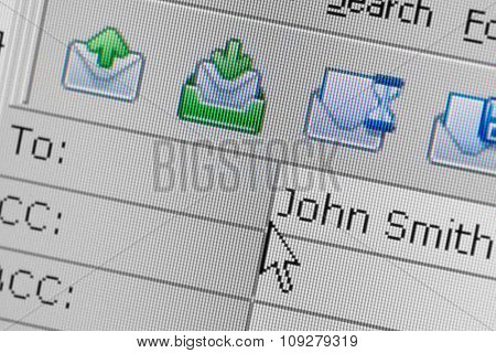 Compose new email message screen. Blank window for writing email. Internet communication concept