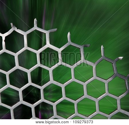 Abstract hexagonal background with green backdrop. Science and technology concept