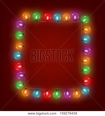 Multicolored glassy led Christmas lights garland like frame on r