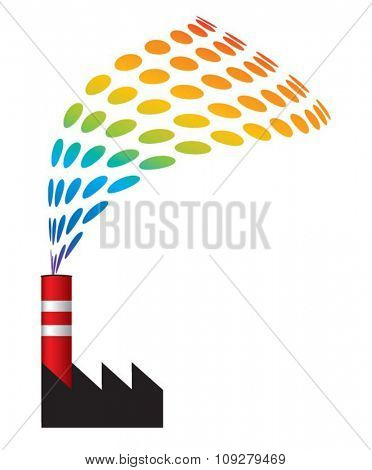 Chimney with filter and clean smoke exhaust saving nature environment in danger. Industrial ecology  and sustainable development concept vector illustration.