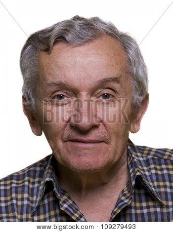 Senior men on white. Older gentleman portrait