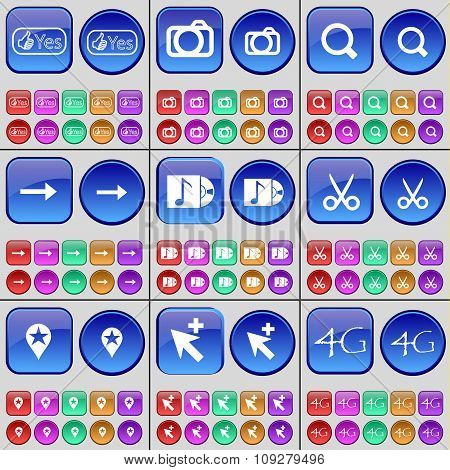 Like, Camera, Magnifying Glass, Arrow Right, Music Disk, Scissors, Checkpoint, Cursor, 4G. A Large