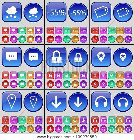 Cloud, Discount, Tag, Chat Bubble, Lock, Checkpoint, Arrow Down, Headphones. A Large Set Of Multi-