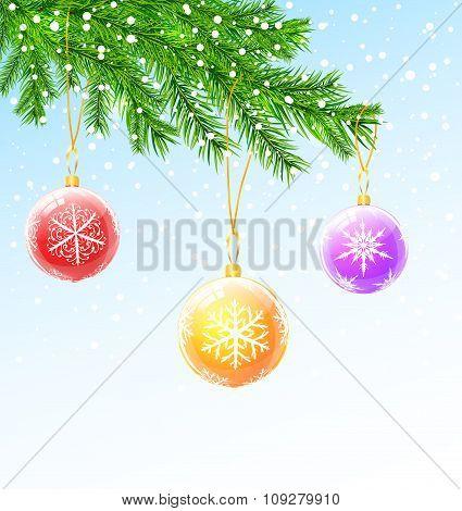 Christmas Balls On Christmas Tree Branch
