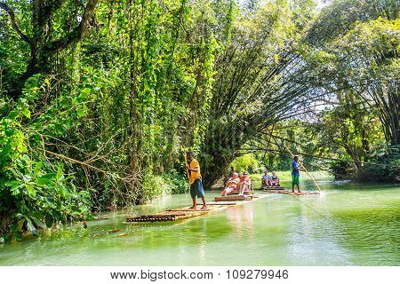 Montego Bay, Jamaica - February  11, 2015: Raft On Martha Brae River With, A Popular Tourist Attract
