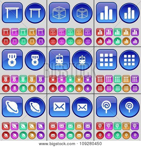 Table, Box, Diagram, Medal, Train, Apps, Planet, Message, Lollipop. A Large Set Of Multi-colored