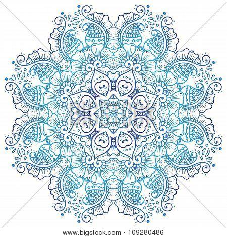 Circular floral ornament Mehndi Henna Tattoo Mandala, Yantra blue. Vintage vector banner frame card