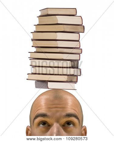 Bald student with pile of books above head. Education and learning trouble concept