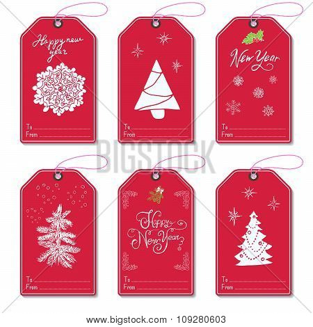 Set Of New Year Gift Tags Vector Template, Hand Drawn Sketch Elements With Lettering Set. Present Ca
