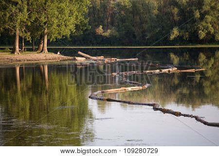 Tree trunks in river and fisherman in forest. Environment and nature concept