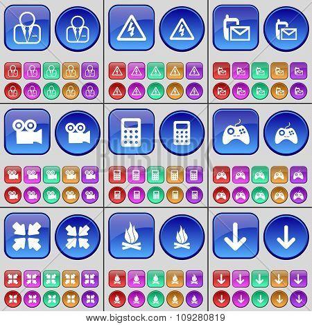 Avatar, Warning, Sms, Film Camera, Calculator, Gamepad, Deploying Screen, Campfire, Arrow Down. A