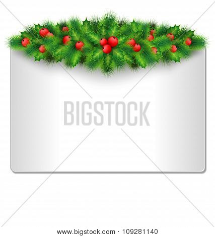 Frame with holly and pine isolated on white