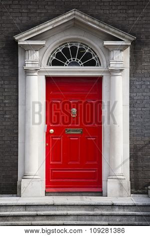 Traditional house entrance door in London, England