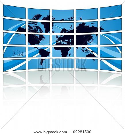 World TV bradsact concept lcd wall with world map on blue background