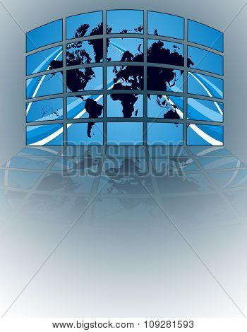 TV lcd wall with world map on blue background