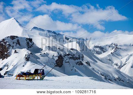 Mountain rescue emergency sled in winter resort