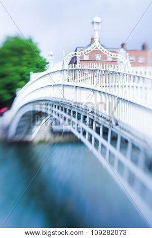 The ha'penny bridge in dublin, ireland with selective focus (tilt and shift lens)
