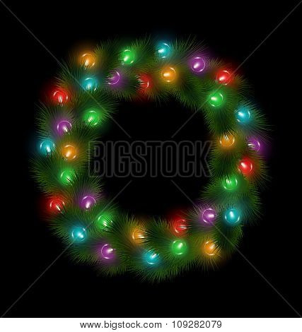 Christmas wreath with multicolored glassy led Christmas lights g