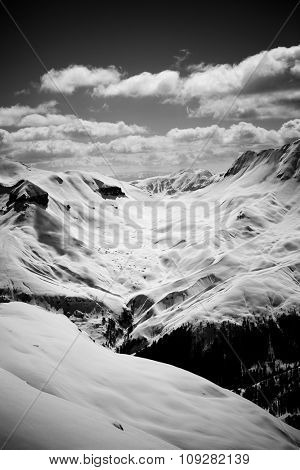 Black and white image of French Alps