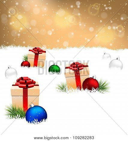 gift boxes with pine and Christmas balls on snow on gold