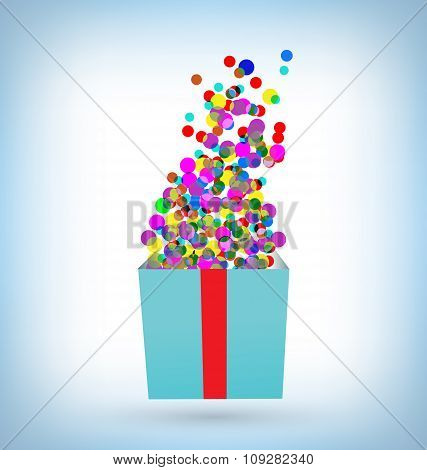 confetti with gift box on blue