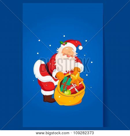 Santa Claus holding a Sack with Toys. Christmas Vector