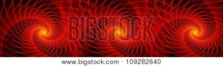 Triple wave of glowing orange fractal swirl