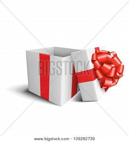 White Celebration Gift Box with Red Bow Isolated on White