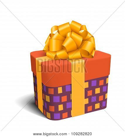 Colorful Violet and Orange Celebration Gift Box with Bow Isolate