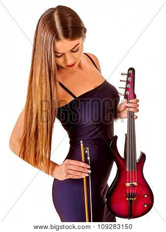 Music performers girl violinist  in long hair long down. Isolated.