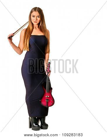 Music performers girl violinist  in long hair . Isolated.