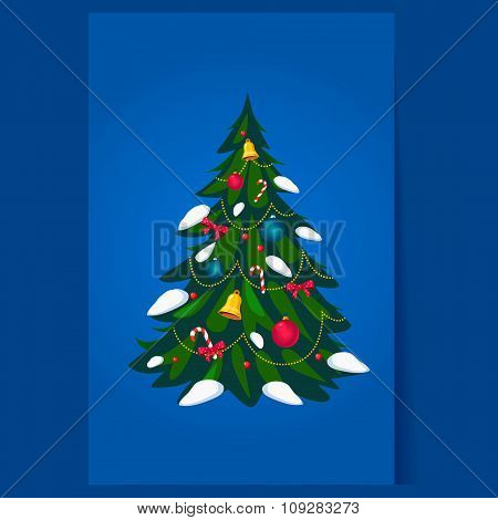 Decorated Christmas Tree, Vector
