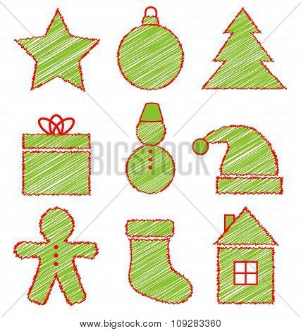 Set of Christmas icons on white